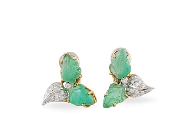 *PAIR OF EMERALD, DIAMOND AND GOLD EARRINGS