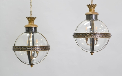PAIR OF NEOCLASSICAL STYLE BRASS PATINATED METAL LANTERNS