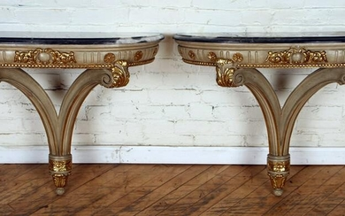 PAIR PAINTED GILT MARBLE TOP CONSOLE TABLES 1950