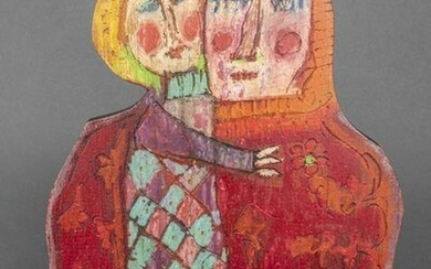 """Painted Wooden Folk Art """"King and Prince"""""""
