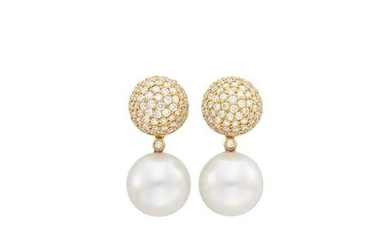Pair of Gold, South Sea Cultured Pearl and Diamond