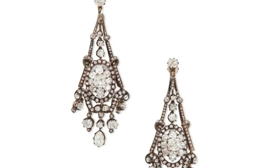 Pair of Silver-Topped Gold and Diamond Earclips