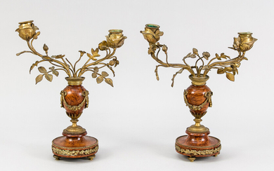 Pair of candlesticks, late 19th c. Balustrated and...