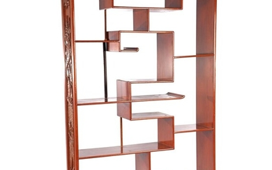 (-), Rosewood display unit with various shelves and...