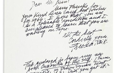 """REIK, THEODOR. Autograph Letter Signed, to """"Dear Mr."""