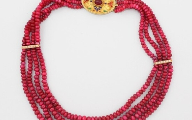 RUBY, DIAMOND AND GOLD NECKLACE