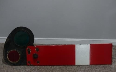 Railwayana; A BR red and white enamel home Signal Arm, with ...