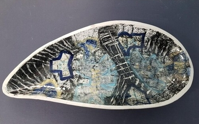 Rare Prudhoe Pottery Glazed Dish with abstract design, 33cm ...
