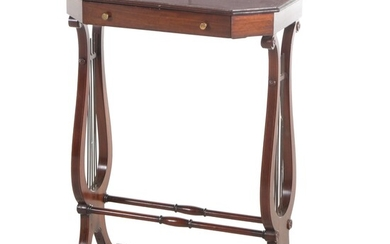 Regency Style Mahogany Lyre Occasional Table, Late 20th Century