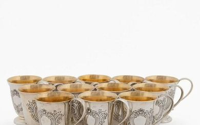 SET 12, REED & BARTON STERLING SILVER PUNCH CUPS