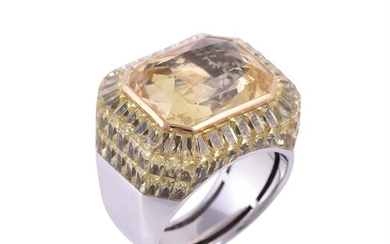 STEPHEN WEBSTER, A SPECIALLY COMMISSIONED YELLOW SAPPHIRE AND YELLOW STONE CLUSTER DRESS RING