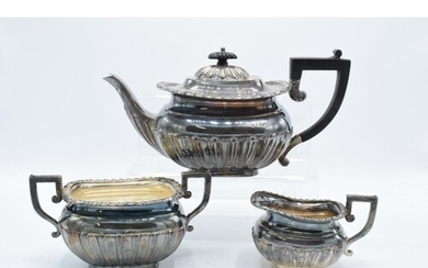 Silver tea pot together with matched silver plated sugar and...