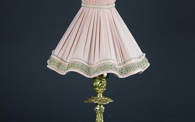 TABLE LAMP, brass base, mid 1900s.