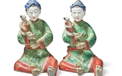 Two Rare Chinese Export Famille-rose Figures of Ladies, Qing Dynasty, Qianlong Period, circa 1740 | 清乾隆 約1740年 粉彩仕女擺件一對