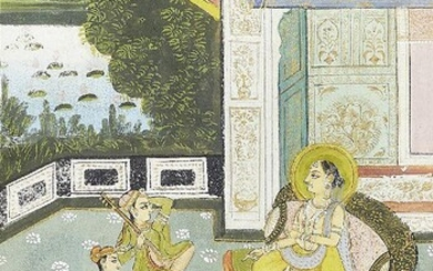 Two scenes of a princess on a terrace, Rajasthan, India, early 20th century, opaque pigments on paper heightened with gilt, the first with the princess haloed and being entertained by female musicians; the second the princess received a royal...