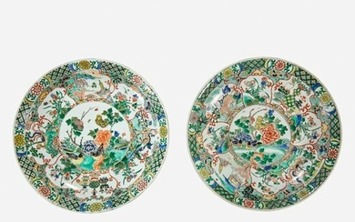 Two similar Chinese famille verte-decorated dishes