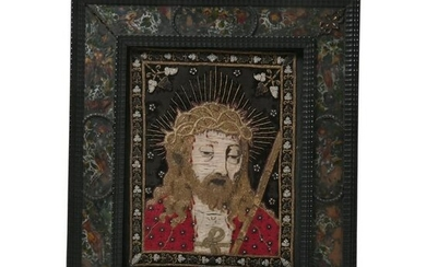 Unusual Armenian Attributed Embroidered Icon in