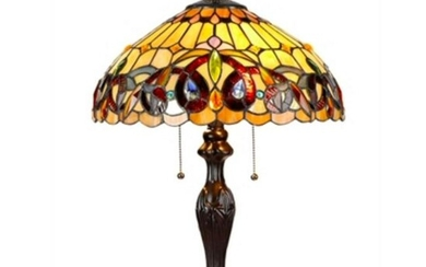 Victorian Style 2-Light Stained Glass Table Lamp
