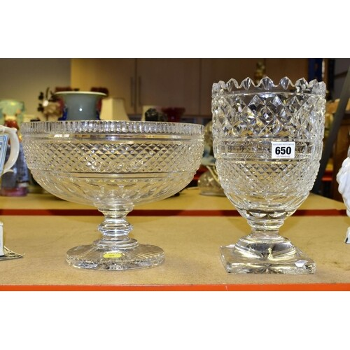 WATERFORD CRYSTAL comprising a Colleen celery vase, etched m...