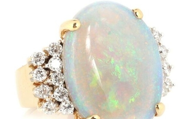 White opal and diamond 18K yellow gold cocktail ring.
