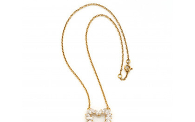 Yellow gold chain with marquise diamond heart central in all ct. 2.00 circa, g 6.05 circa, length cm 38.30 circa.Read more