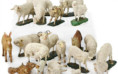 animal figures, wood, carved, early, 20 pieces sheeps