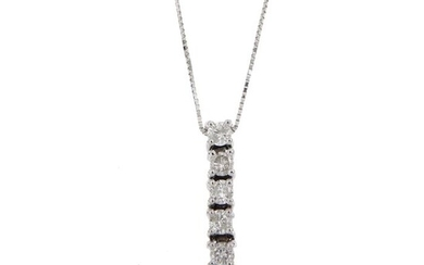 18 kt. White gold - Necklace with pendant Diamonds