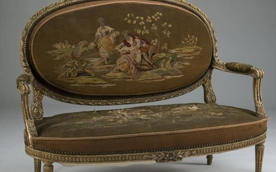 19th c. Louis XVI style settee with scenic tapestry