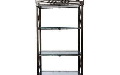 20th Century cast iron, Steel and Glass Etagere