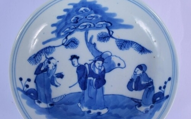 A CHINESE QING DYNASTY BLUE AND WHITE PORCELAIN DISH Transit...