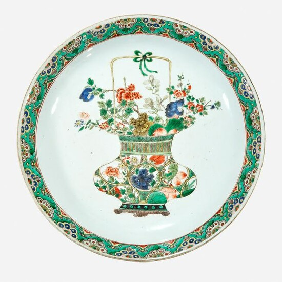 A Chinese famille verte-decorated porcelain charger