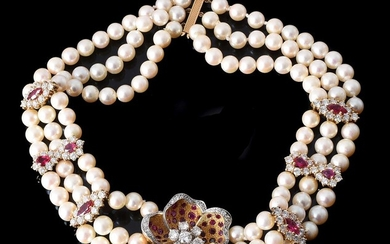 A DIAMOND, RUBY AND CULTURED PEARL COLLAR NECKLACE