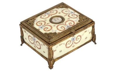 A FRENCH ENAMELLED AND GILT METAL BOX, EARLY 20TH CENTURY