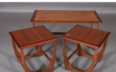 A G-Plan nest of three occasional tables, rectangular, on 'U...