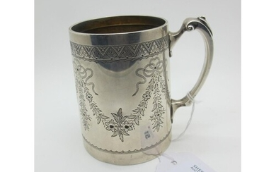 A Hallmarked Silver Mug, CE, London 1881, of tapering cylind...