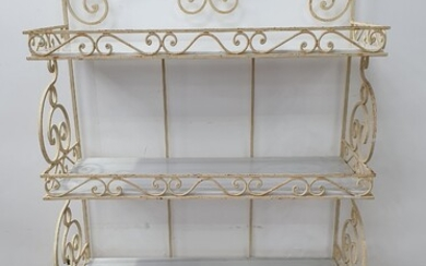 A LARGE WROUGHT IRON BAKERS STAND