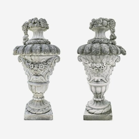 A Large Pair of Composition Stone Garden Urns*