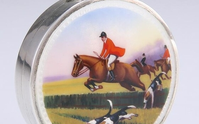 A SILVER AND ENAMEL COMPACT, import marks, TK &