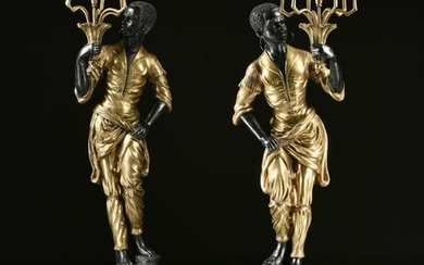 A PAIR OF VENETIAN STYLE GILT AND PATINATED BRONZE