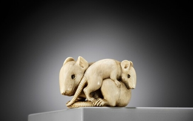 A POWERFUL AND LARGE KYOTO SCHOOL IVORY NETSUKE OF A RAT AND YOUNG