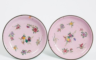 A Pair of Painted Enamel Pink-Ground Dishes, Qianlong
