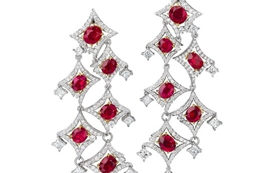 A Pair of Ruby, Diamond, and Bi-Colored Gold Earrings