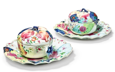 A Rare Pair of Chinese Export 'Tobacco Leaf' Pattern Pomegranate-form Tureens, Covers and Stands, Qing Dynasty, Qianlong Period, circa 1785 | 清乾隆 約1785年 粉彩花卉紋石榴形湯盆及托盤一對
