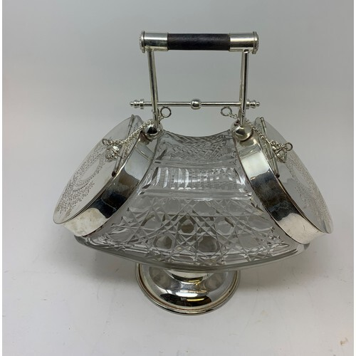 A Victorian style glass biscuit box, with plated mounts, 28....