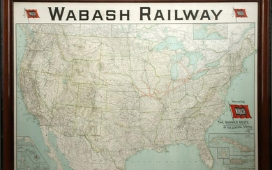 A WABASH RAILWAY WALL MAP DATED 1928