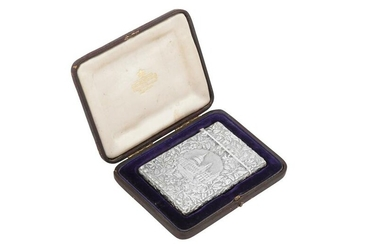 A cased Victorian sterling silver 'castle top' card