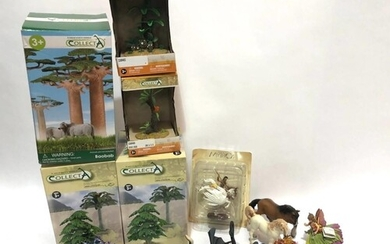 A collection of assorted plastic figures, to include mythica...