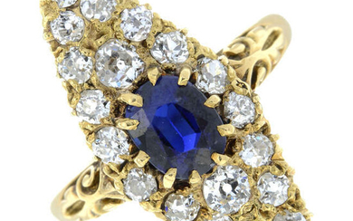 A late 19th century gold sapphire and old-cut diamond marquise-shape cluster ring.