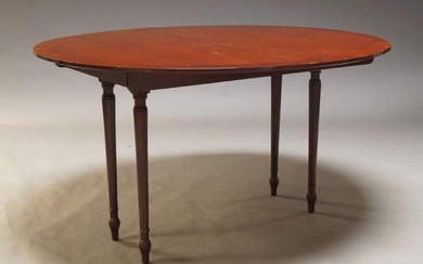 A mahogany and crossbanded D-end dining table, late 20th Century, with three additional leaves, raised on cylindrical tapering legs, 74cm high, 263cm extended, 117cm deep, together with a set of six Regency style bar back dining chairs (6)