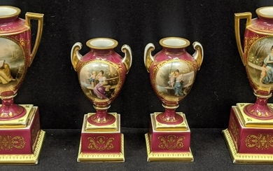 A pair of Royal Vienna porcelain urns, together with
